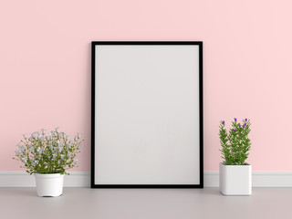 Blank photo frame for mockup on the floor, 3D rendering