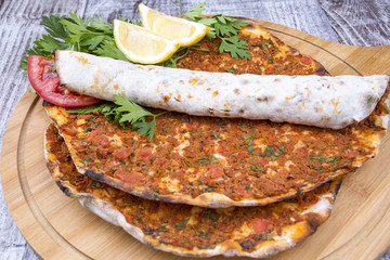 Turkish foods; Turkish pizza, Lahmacun
