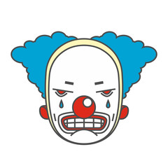 Evil clown head. Vector illustration.