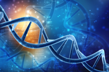 3d render of dna structure in medical technology background