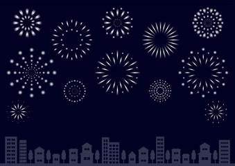 花火と街並 背景イラスト グラデーション