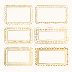 Golden selection of oriental frames. Vintage hand drawn design. Floral elements.