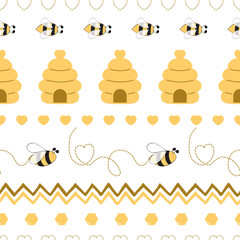 Seamless pattern with bee honey bee hive in vector cartoon children style yellow geometric