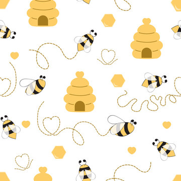 Seamless pattern with bee honey bee hive in vector cartoon children style yellow