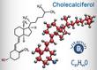 Cholecalciferol ( colecalciferol, vitamin D3) molecule. Structural chemical formula and molecule model