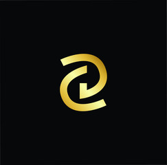 Outstanding professional elegant trendy awesome artistic black and gold color DC CD initial based Alphabet icon logo.