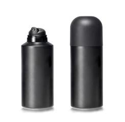 Two lotion dispensers one capped and other uncapped. Clipping path