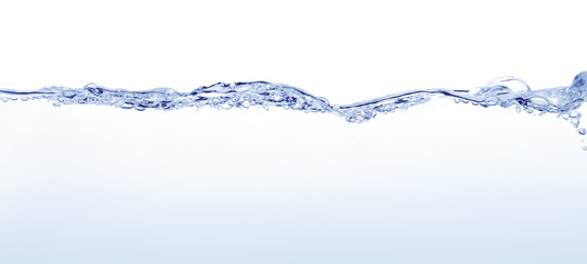Long line of water surface with soft undulations against white background