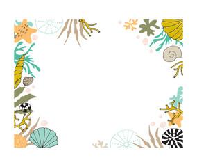 Vector floral seaweed frame