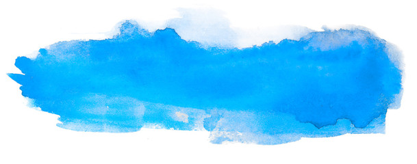 bright blue spot brush stroke watercolor stain design element, with a paper texture