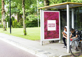 Bus Stop Kiosk Advertisement Mockup