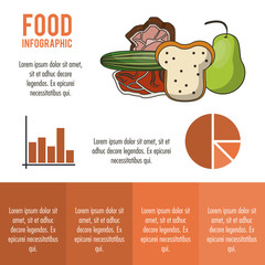 Nutrition and food red infographic with statistics and elements vector illustration
