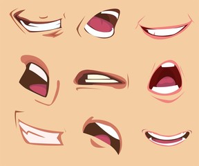 Cartoon mouth expressions set. Vector illustration.