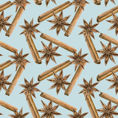 Cinnamon and star anise. Seamless pattern. Winter spice. Hand drawn watercolor illustration.
