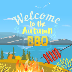 Autumn outdoors concept. Cartoon retro style poster. Welcome invitation to barbecue picnic. Season holiday leisure banner background. Mountain valley, lake. Vector flaming BBQ grill illustration
