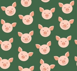 Funny piglets, seamless pattern, green, vector. Face pink pigs against a green background. Vector flat pattern. Pigs are laughing, different emotions.