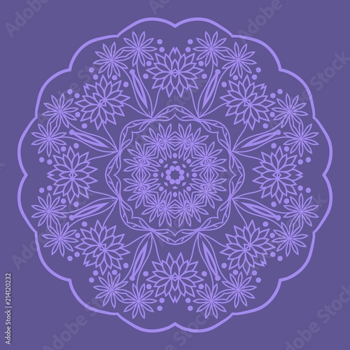 Decorative Cicle Floral Vector Shapes  Flower purple mandala