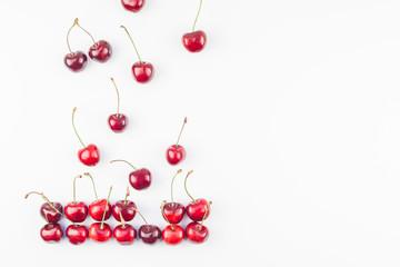 Fresh ripe cherry pattern isolated