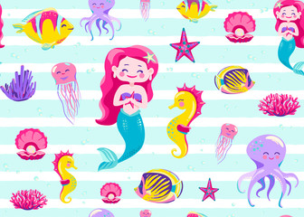 Mermaid pattern seamless vector illustration. Endless background for child print with striped white texture, ocean fish, seahorse, jellyfish, coral, octopus on light backdrop
