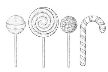 Lollipops. Hand drawn sketch