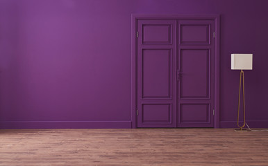 modern home decoration purple wall and white lamp style.