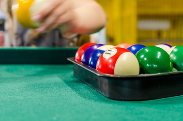 Billiard balls on the table for the game