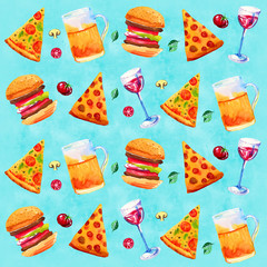 Seamless pattern with wine, beer, assorted pizza and vegetables. Hand drawn watercolor illustration on blue background