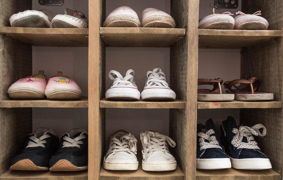 Indoor Shoe Rack of sneakers lovers shoes.
