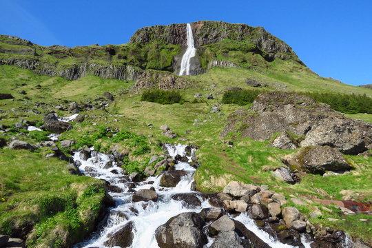 Amazing Bjarnarfoss waterfall in summer, near Budir black church, Snæfellsnes, Iceland