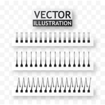 Iron spiral for paper sheets. Spiral binder vector.