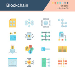 Blockchain icons. Flat design collection 36. For presentation, graphic design, mobile application, web design, infographics.