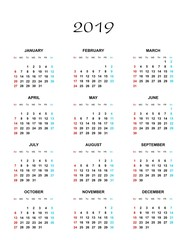Simple color calendar for the year 2019. The names of days and months in a row and Sunday marked red, saturday blue on a white background
