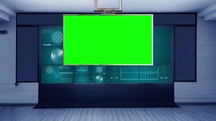 036 Mission Control 4K Virtual Studio Set News Green Screen Background