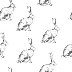 Vector vintage seamless pattern with sitting hare isolated on white. Hand drawn texture with rabbit in sketch style. Background with engraved animal