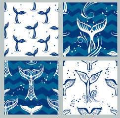 Seamless pattern with Whales Tail