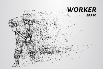Working of the particles. Working with a shovel digging.