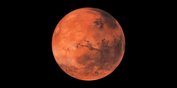Mars red planet black background