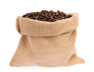 Poster Café en grains sack of roasted coffee beans isolated on white background