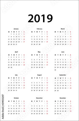 calendar 2019 - Simple Calendar template for 2019