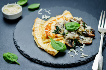 Mushrooms spinach cheese Crepes