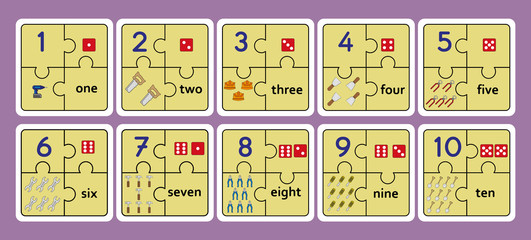 Printable counting puzzles, number strip puzzle work tools puzzle, counting numbers 1 10 game,
