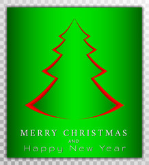 Chreestmas tree from paper cut style, xmas day card vector illustration on transparent background.  Greeting card, poster, banner collection