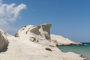 Sarakiniko beach lunar landscape in Milos, Cyclades Islands, Aegean Sea, Greece