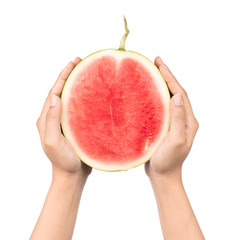 hand holding slice of watermelon isolated on white background