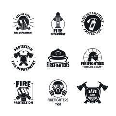 Fire fighter logo icons set. Simple illustration of 16 fire fighter vector icons for web
