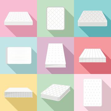 Mattress squab bedding icons set. Flat illustration of 9 mattress squab bedding vector icons for web