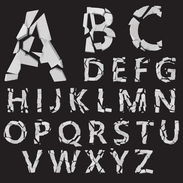 3d styled vector fractured letters set