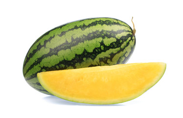 fresh yellow watermelon slice isolated on white background