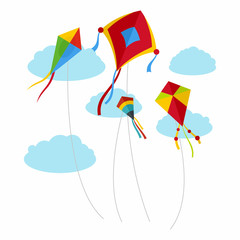 Kites fly in the sky background. Flat illustration of kites fly in the sky vector background for web design