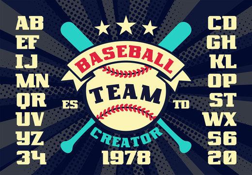 Baseball vintage team creator